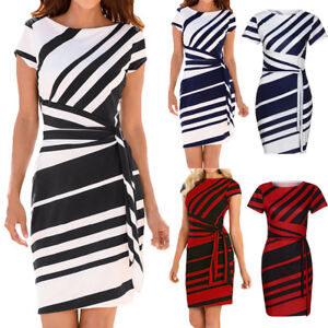Womens-Short-Sleeve-Bodycon-Mini-Dress-Office-Lady-Striped-Pencil-Party-Dresses