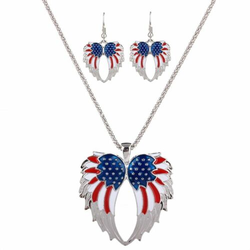 Sets Angel Wings Pendant USA National Flag Necklace Exaggerated Personality