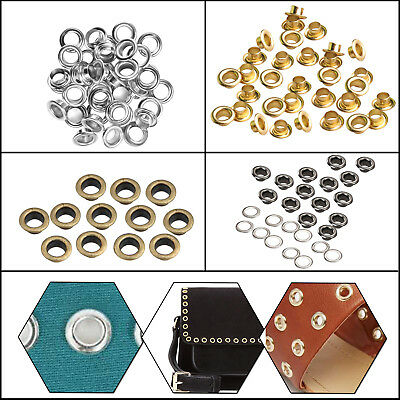 100pcs 8mm Brass Eyelet with Washer Leather Crafts Repair Grommet Scrapbooking
