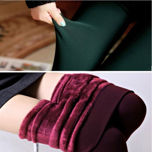 Women Thermal Thick Warm Fleece lined Fur Winter Tight Pencil Leggings Pants EO