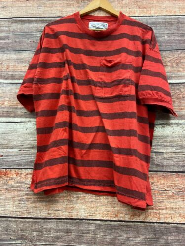 Vintage Dimitris Red Striped T Shirt With Pocket S