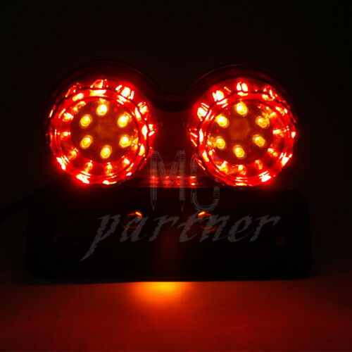 Red LED Twin Dual Tail Turn Signal Brake License Plate Integrated Light For Cafe