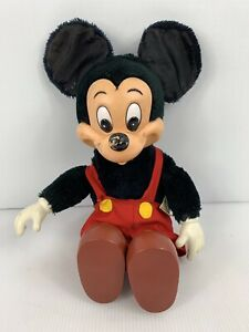 Vintage Mickey Mouse Plush Doll Plastic