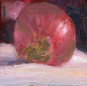 Red-Onion-4-x-4-in-Original-Oil-on-stretched-canvas-Hall-Groat-Sr