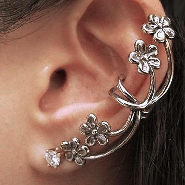 Hot Fashion Flower Ear Cuff Wrap Clip Earrings Retro Crystal Silver Tone Punk