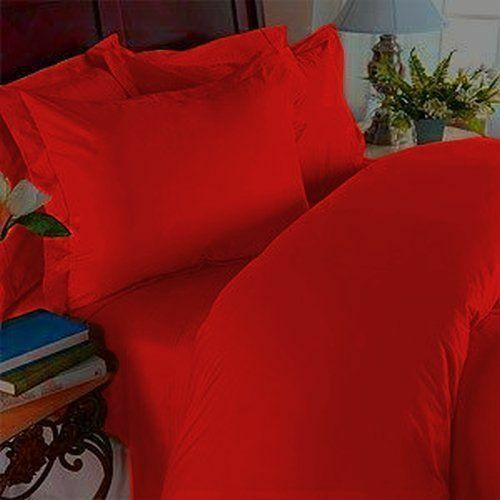 BEDDING COLLECTION 1000 TC EGYPTIAN COTTON KING-SIZE SELECT ITEM RED SOLID