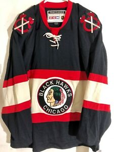 CCM Classic NHL Jersey Chicago Blackhawks Team Black Throwback sz L ... 9da066e82ee
