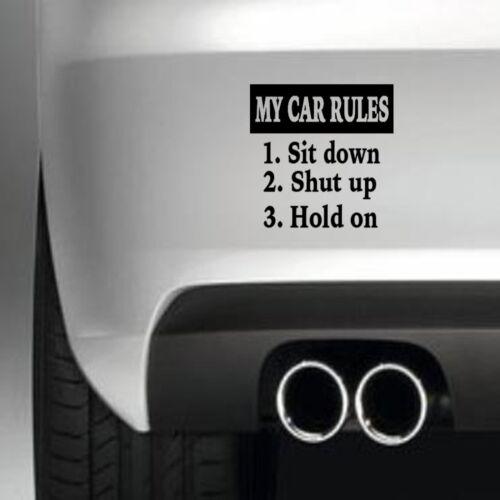 Reglas de mi coche calcomanía divertida etiqueta del vinilo Pegatina de Coche Ventana Pintura