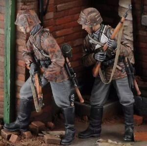 1-35-Resin-Figure-Model-Kit-German-Soldiers-Armed-Guards-WWII-WW2-Unpainted