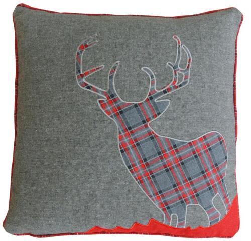 45 cm Red /& Grey Cushion Cover Soft Woven Tweed Wool Fabri Tartan Stag 18 Inch