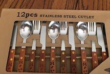 Wood Western Design Brands 12 piece Set Flatware Silverware Wooden Rustic NEW