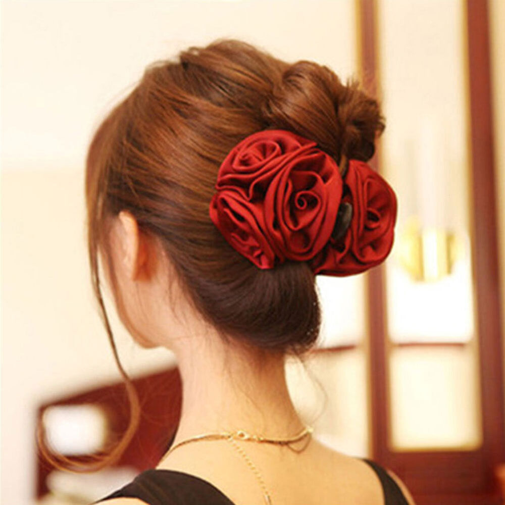 Korean Womens Chiffon Rose Flower Bow Jaw Clip Barrette Hair Claw Accessories Clothing, Shoes & Accessories