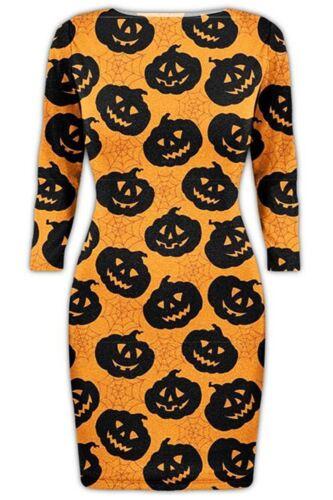 Womens Halloween Skull Fancy Costume Long Sleeve Ladies Scary Flared Swing Dress