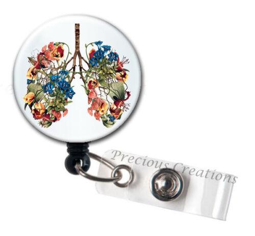 1 x Flower Lung ID Badge Reel Holder Clip Holder Retractable Medical Nurses