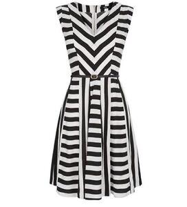 d5e72be548ef Oasis UK Size 8 Multi Black White Asymmetric Striped Sleeveless ...