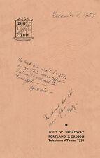 1954 Davey's Locker Dinner Menu, 800 SW Broadway, Portland, OR, Autographs