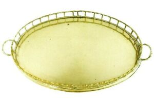 Brass Serving Tray -Faux Bamboo - Oval Serving Tray - Material Culture