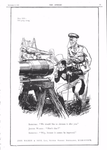 "1915 ANTIQUE PRINT WW1 ADVERTJOHNNIE WALKER, ""WE SHOULD LIKE TO CHRISTEN IT."