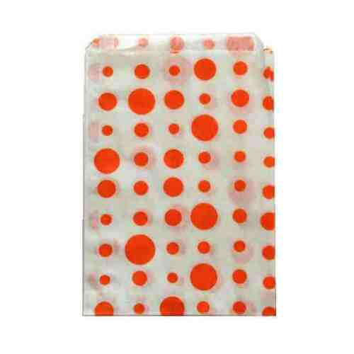 5x7 INCHES PICK YOUR AMOUNT ORANGE POLKA DOT PAPER SWEET FAVOUR BUFFET BAGS