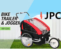 Baby Pusher Stroller Trailer Bicycle Jogging Bike Folding 2 Seats Seater Harness
