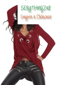 Sexy-Wine-Red-LaceUp-Longsleeve-CrossOver-Drape-Style-HiLo-Top-Choose-8-10-12