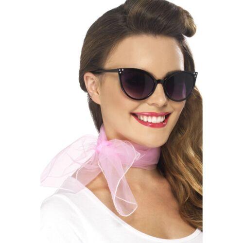 Womens Ladies 50/'s Neckscarf Pink Rock n Roll Fancy Dress Grease Neck Scarf Fun