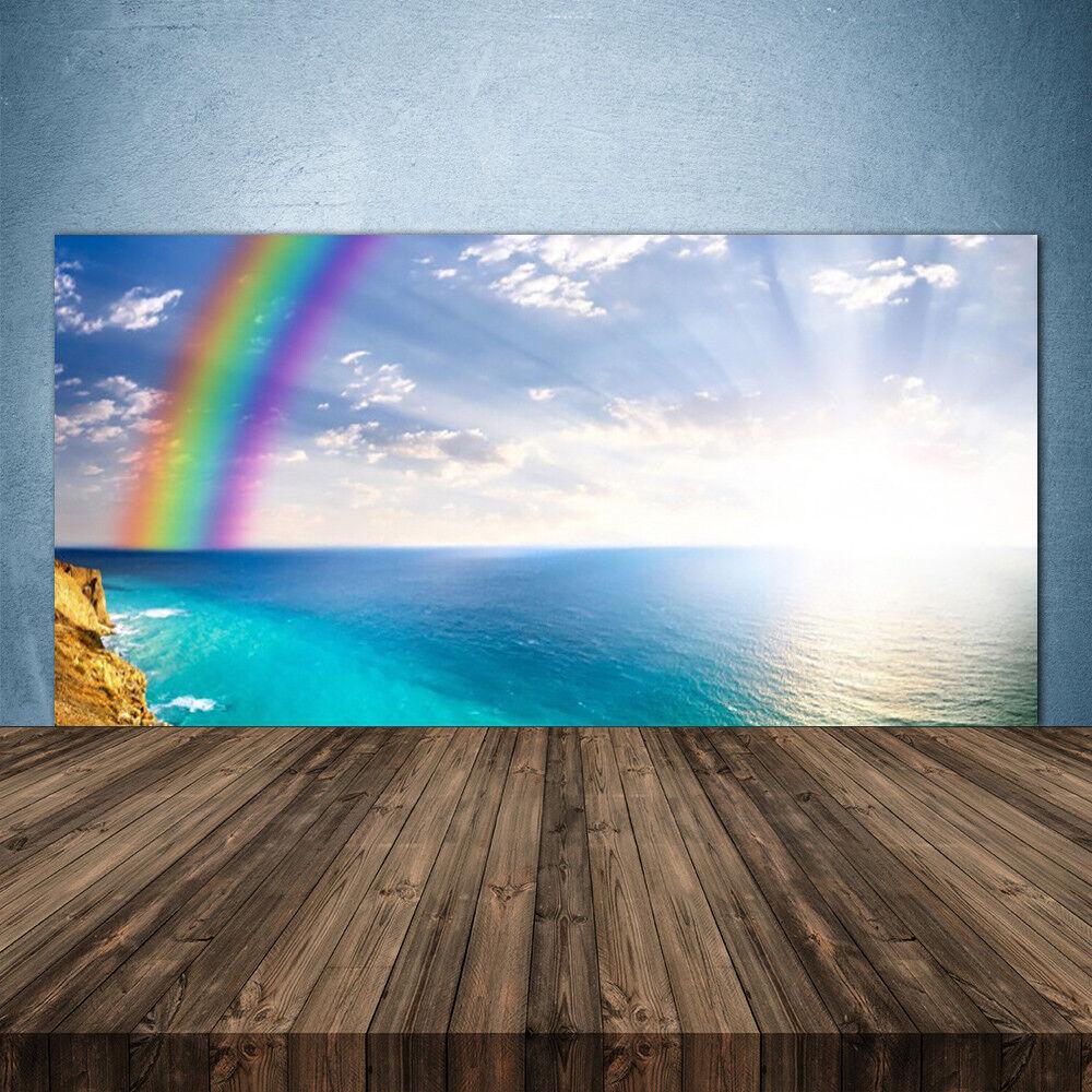 Crédence de cuisine en verre Panneau 140x70 Paysage Arc En Ciel Mer
