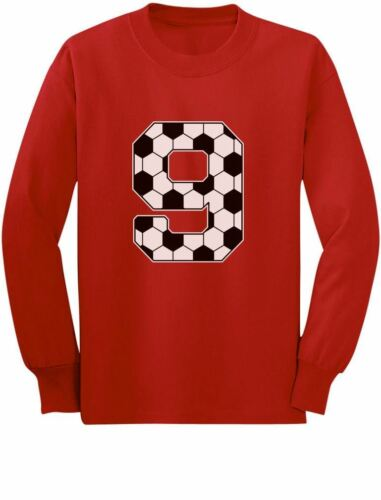 Soccer Fan 9th Birthday Gift for 9 Year old Youth Kids Long Sleeve T-Shirt Ninth