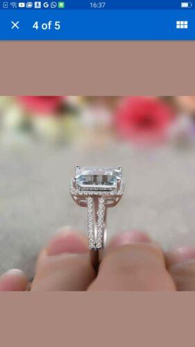 Delicated 3Ct Emerald Cut Aquamarine Halo Engagement Ring 14K White Gold Finish