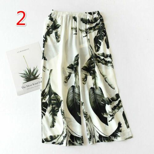 Lady Floral Pants Wide Legs Trousers Pajama Bottoms Sleepwear Lounge 3//4 Fashion