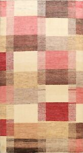 Geometric Checked Gabbeh Modern Hand-knotted Oriental Area Rug Hand-Knotted 6x9