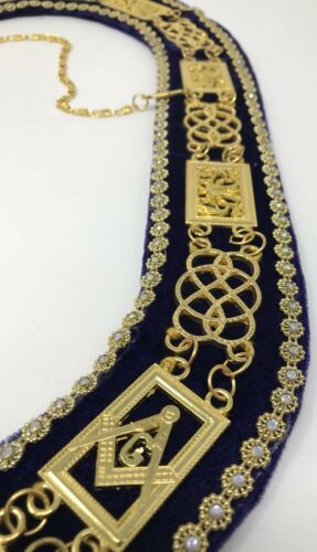 New Freemason Masonic Grand Lodge Officer Collar Gold Tone Purple Backing
