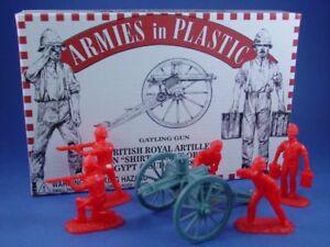 ARMIES-IN-PLASTIC-5555-BRITISH-ROYAL-ARTILLERY-GATLING-GUN-ZULU-WAR-FREE-SHIP