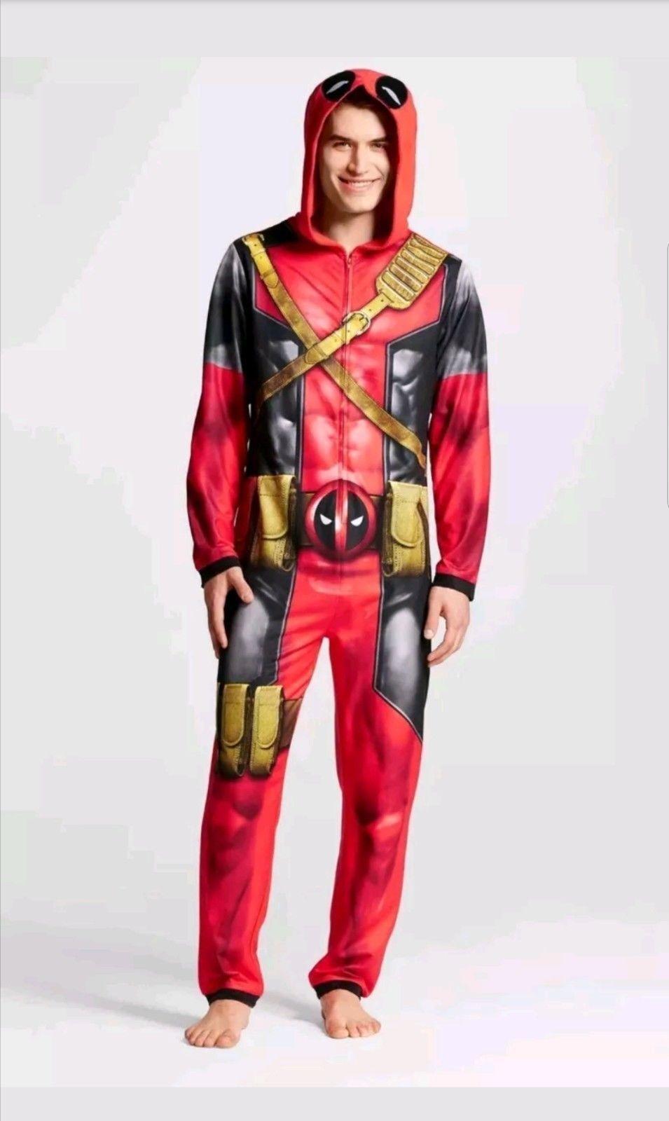 MARVEL DEADPOOL Adult One Piece Union Suit HOODED Fleece Pajamas  M Medium NEW
