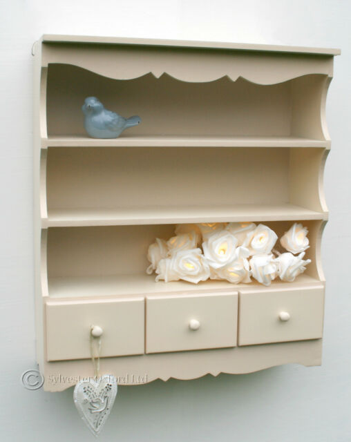 Pretty shabby / chic WALL DISPLAY UNIT. Shelving unit in IVORY