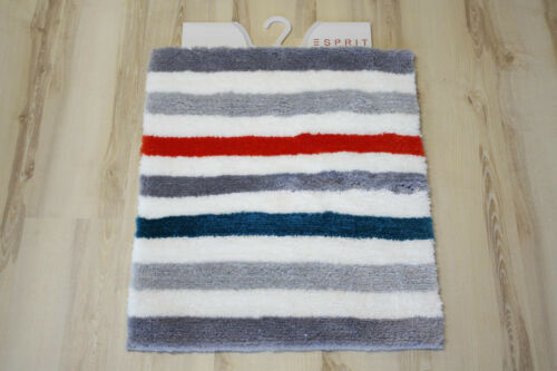 Esprit tapis de bain Grund Line stripe 06 55x65cm gris turquoise orange