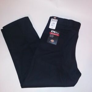 Dickies Mens Pants 44 X 30 Solid Black Original Fit Center Crease Ebay
