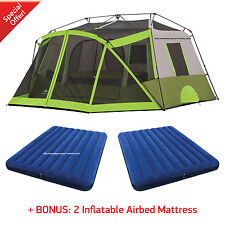 Ozark Trail 10 Person Instant Cabin Tent Family 2 Room Camping Outdoor Hiking