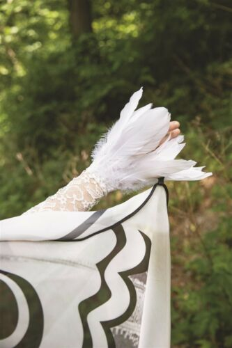 Halloween White Angel Wing Lace /& Feather Sleeve Victorian Trading Co