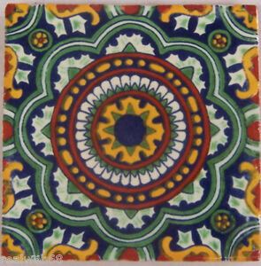 Image Is Loading 90 Decorated Tile Handpainted 4x4 034 Mexican Tiles