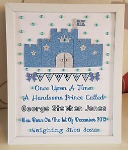 Image Is Loading Personalised Framed Boy Castle Handmade Baby Birth Christening