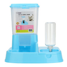 2 in1 Pet Cat Dog Automatic Water Drinker Dispenser Food Feeder Dish Bowl Bottle