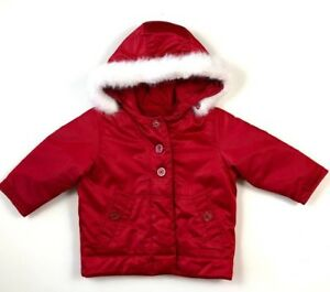 0495b52b53a88 Baby Gap Girls 18-24 Months Red Jacket White Faux Fur Hoodie Trim