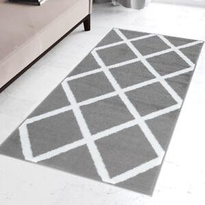Modern Grey Amp White Hall Runner Trellis Pattern Short Pile