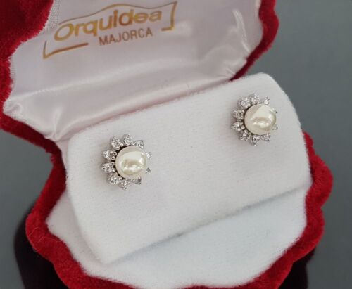 60223 Mallorca-Perlen Weiß 925 Silber Orquidea Ohrstecker Hochzeit