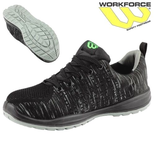 Workforce Steel Toe Cap Black Knitted Safety Shoes Boots Lightweight Trainers Sz