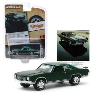 Greenlight Vintage AD Cars 1970 Chevrolet Monte Carlo 1:64 Diecast Green 39030 D