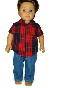Jeans-amp-Plaid-Shirt-doll-clothes-for-Boys-fits-American-Girl-Boy-dolls-Red-Navy