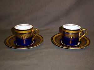Attractive-Pair-Of-AYNSLEY-Simcoe-Cobalt-Blue-amp-Gold-Small-Coffee-Can-amp-Saucer