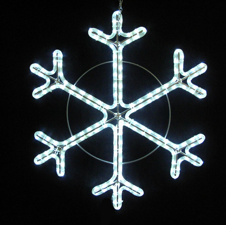 LED Schneeflocke Eiskristall Eisflocke 70 cm mit weissen LED Lichtschlauch 230 V